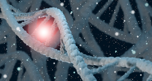 Dna 3d dna helix blue molecular spiral concept of medical science genetic biotechnology, biology, chemistry
