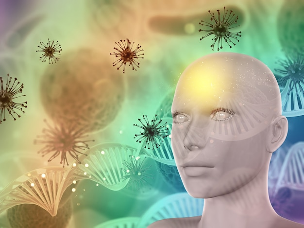 女性の顔、ウイルス細胞とdna鎖と3d抽象的な医療の背景
