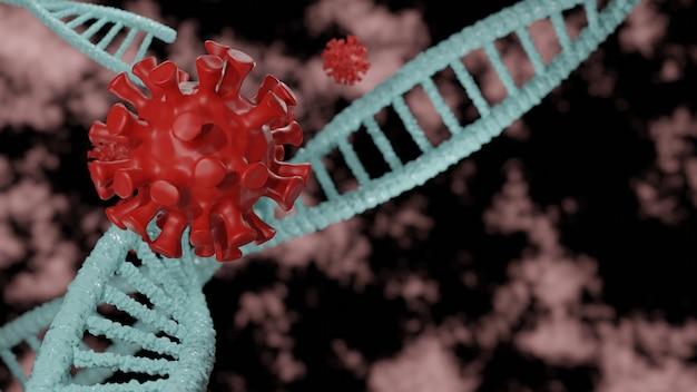 3d 일러스트에서 dna 개념으로 코로나 바이러스 covid 19를 공격하는 dna 항체.