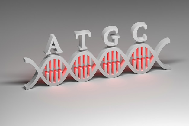 Dna and atgc in white colors