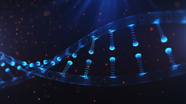 Dna on a blue bokeh background