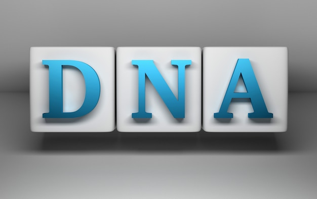 Dna blue letters on whit cubes