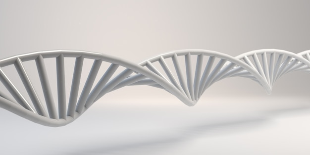 Dna chain on white background. abstract molecule sequence. background. banner. 3d illustration.