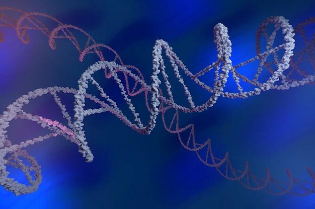 Цепи днк на синем фоне. дезоксирибонуклеиновая молекула.