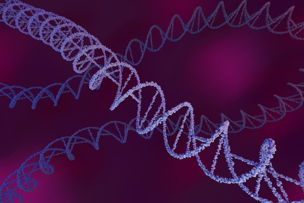 보라색 배경에 dna 사슬입니다. 디옥시리보핵 분자.