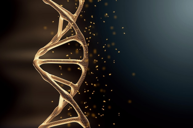 創造的な背景、dna構造、灰色の背景上の黄金のdna分子、紫外線