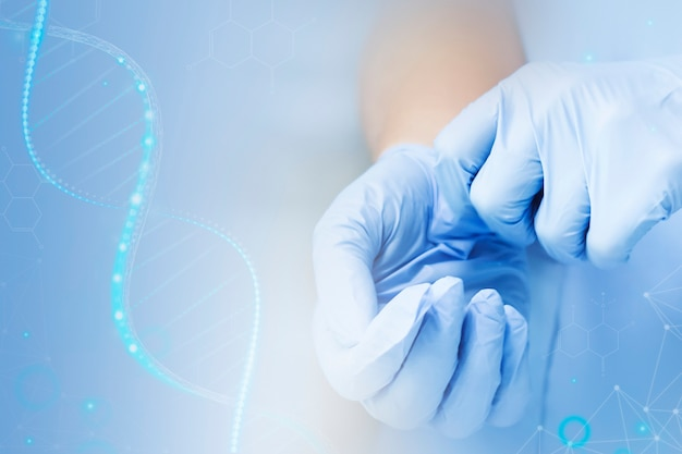 Dna genetic biotechnology science with scientist's hands disruptive technology remix