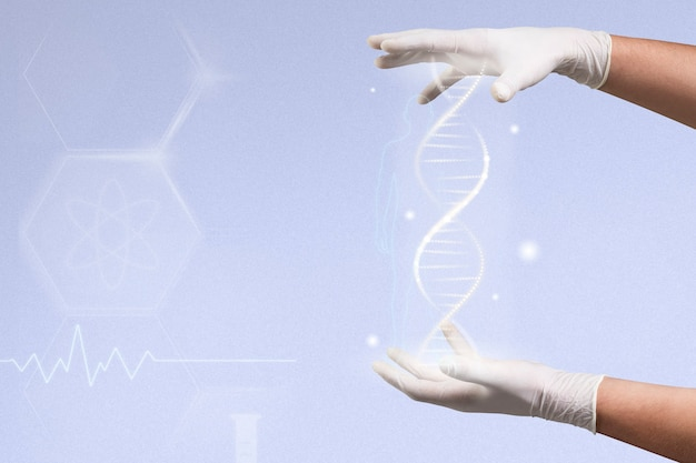 Dna genetic engineering biotechnology with scientist's hands disruptive technology remix Free Photo