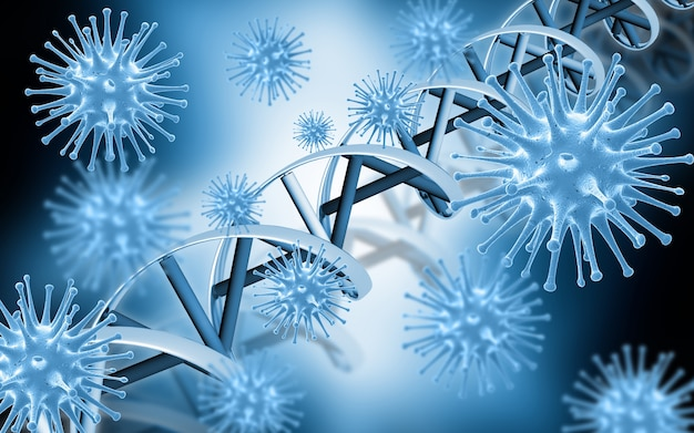 Dna helix attacked by virus
