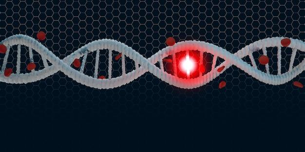 Спираль днк структура жизни и красные кровяные тельца 3d иллюстрация