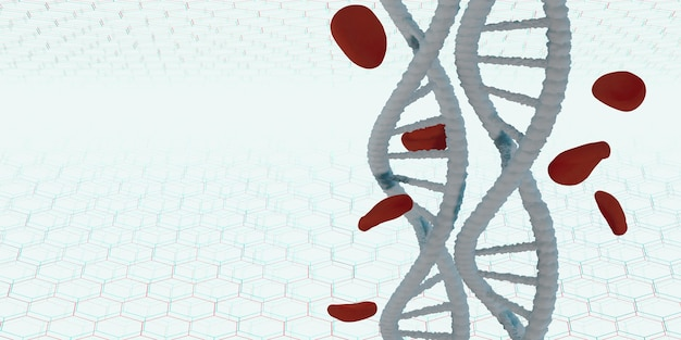 Dna helix life structure and red blood cells 3d illustration