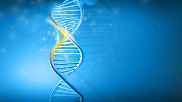Dna helix model on a blue background d render