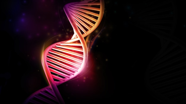 Dna helix model glowing on a black background d render