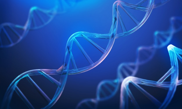 Dna helix, molecule or atom, abstract structure for science or medical background