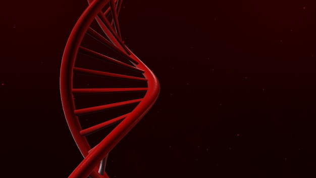 Dna isolated in red back ground 3d illustration