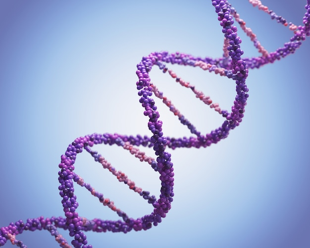 Dna molecule, human genome helix spiral genetic science 3d illustration.