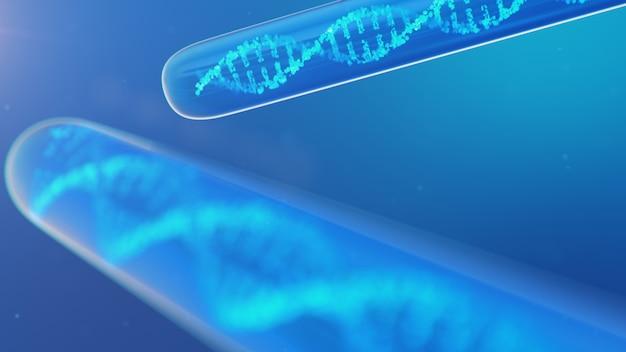 Dna分子、その構造。人間のゲノムの概念。遺伝子が改変されたdna分子。液体とガラスの試験管内のdna分子の概念図。医療機器、3 dイラストレーション