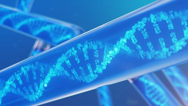 Dna 분자, 그 구조. 개념 인간 게놈. 변형 된 유전자를 가진 dna 분자. 액체 유리 테스트 튜브 안에 dna 분자의 개념적 그림. 의료 기기, 3d 일러스트