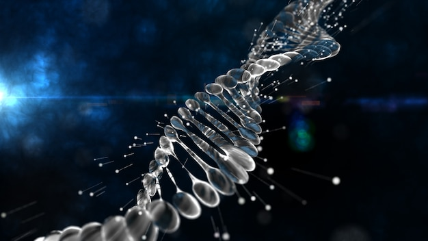 Dna regeneration helix with depth of field. dna molecule for visuals, biology, biotechnology, chemistry, science, medicine, cosmetics, motion background, medical dashboard. 3d rendering.