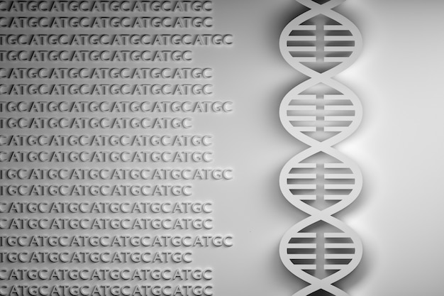 Dna sequencing in black and white colors