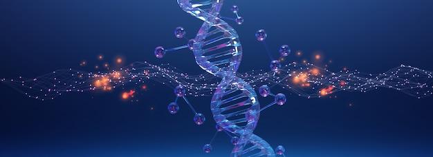Спиральная структура днк. медицинская наука, генетическая биотехнология, химия биология, научный фон, 3d иллюстрация.