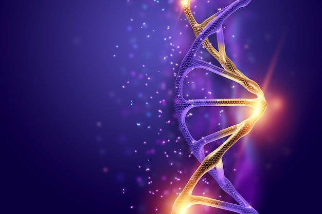 Dna structure, golden dna molecule on violet background, ultraviolet