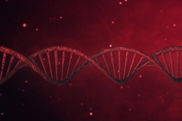 Структура днк на абстрактном красном фоне 3d иллюстрации