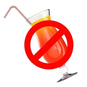 개념을 마시지 마십시오. 흰색 바탕에 coctail 및 금지 기호가 있는 유리. 3d 렌더링