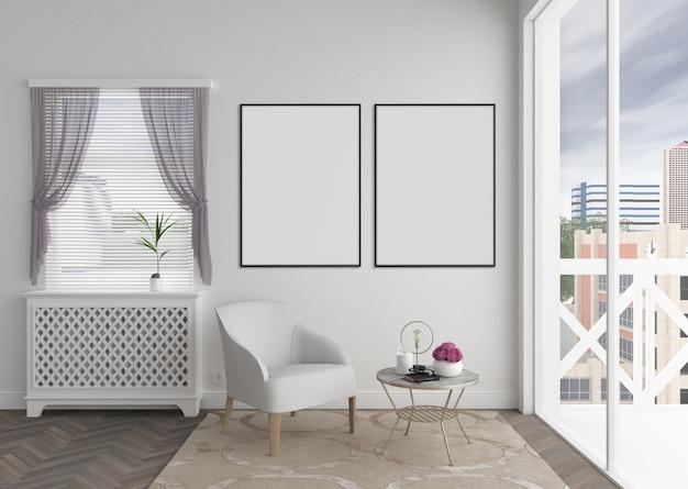 Doble空白のフォトフレームまたはアートワークフレーム、インテリアモックアップとモダンなインテリア