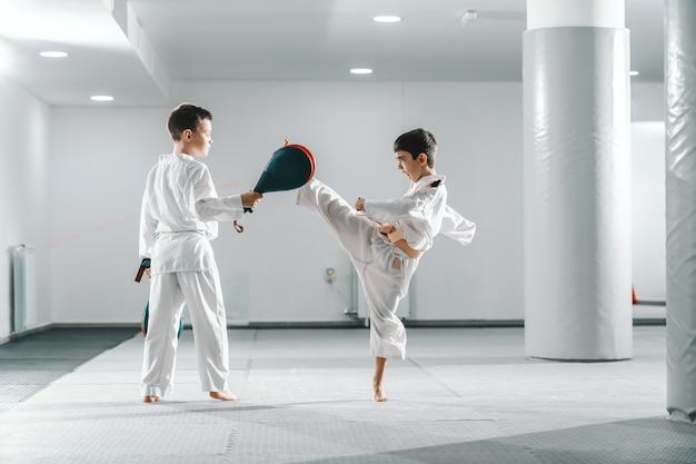 ジムでテコンドートレーニングを持っているdoboksの2人の若い白人少年。 1人の女の子が蹴りながら他の1人がキックターゲットを保持