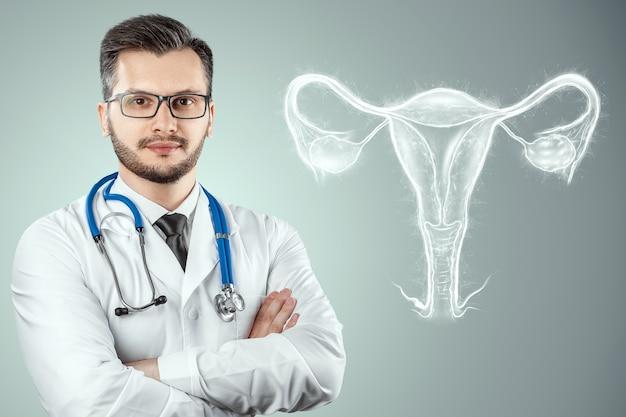 子宮の女性の臓器の医師とホログラム。健康診断、女性の診察、超音波、婦人科、産科、妊娠、現代医学。
