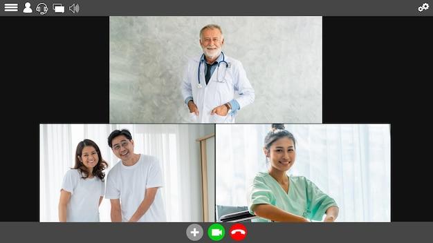 화상 통화를 하는 의사와 환자