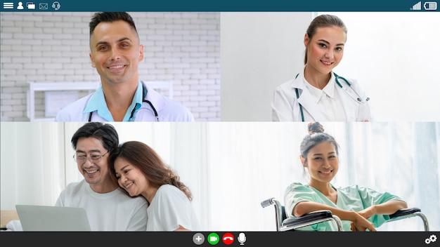 Врач и пациент разговаривают по видеосвязи