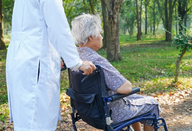 Doctor and asian senior patient with care on wheelchair in park.