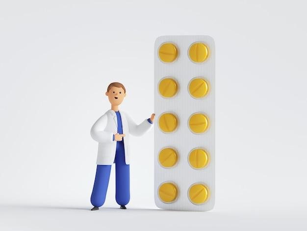 노란색 알 약의 큰 팩 근처 의사 만화 캐릭터