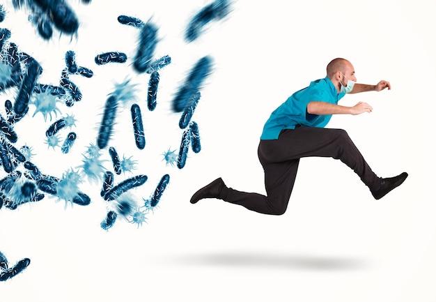 박테리아의 공격에 쫓기는 의사는 무서워 탈출한다. 3d 렌더링
