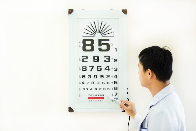 Doctor check patient eye problem by snellen chart