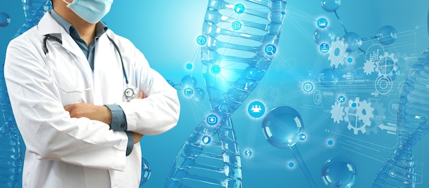 Доктор проверяет с анализом хромосомной днк генетического человека на виртуальном интерфейсе. концепция медицинской науки, 3-я иллюстрация