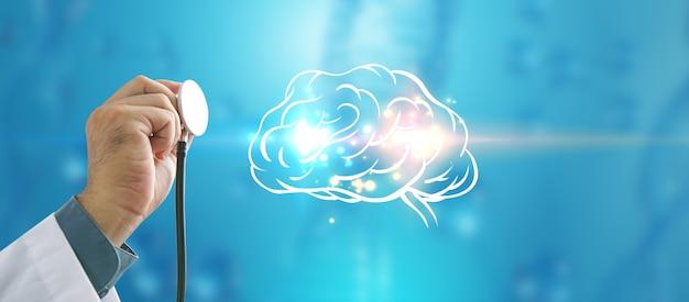 脳をチェックする医師。早期診断、科学と医学の概念