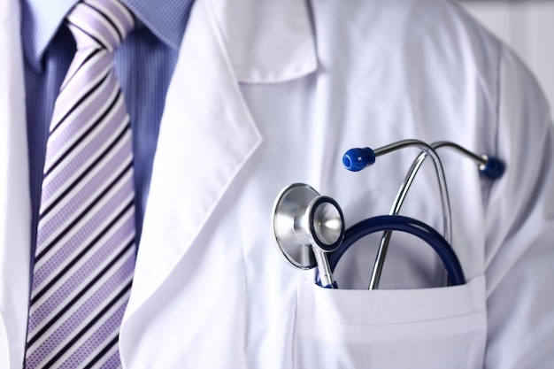 Doctor chest with stethoscope in pocket closeup