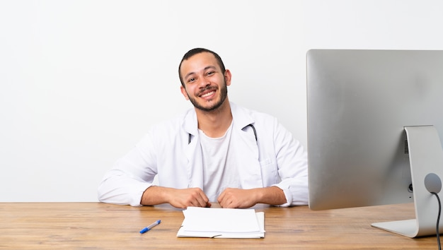 Doctor colombian man laughing