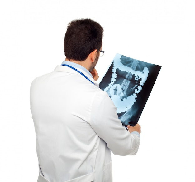 Doctor consulting a bowel radiography