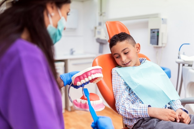 子供に歯を磨くように教える歯科医。歯科医の概念。