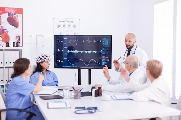 Врач обсуждает волну испарения в наушниках с датчиками. монитор показывает современное исследование мозга, в то время как группа ученых настраивает устройство.