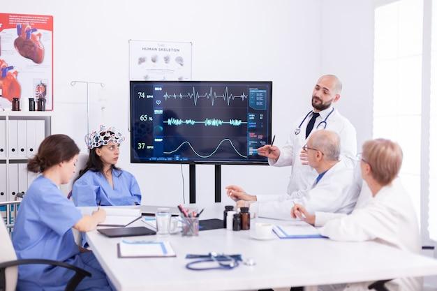 Врач обсуждает будущее неврологии с медицинским персоналом в конференц-зале больницы. монитор показывает современное исследование мозга, в то время как группа ученых настраивает устройство.