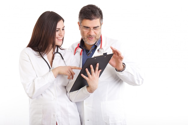 Doctor examines x-rays