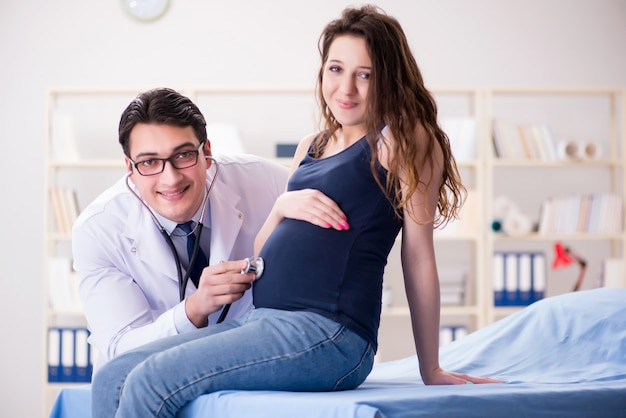 Doctor examining pregnant woman patient