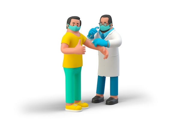 Doctor giving vaccine injection to male patient man gesturing thumb up during vaccination covid19