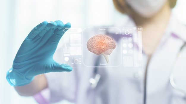 Doctor hand hold transparent tablet display showing brain in screen