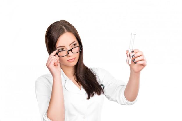 Doctor hands a vial